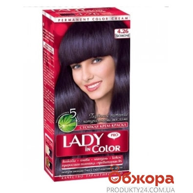 Краска Леди ин колор (Lady in color) для волос N4.26 божоле – ИМ «Обжора»