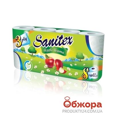 Туалетная бумага Санитекс.8.с ароматом яблок 3слоя,50% целюл. – ИМ «Обжора»