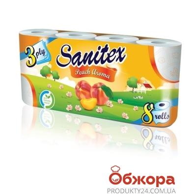 Туалетная бумага Санитекс.8.с ароматом персика 3слоя,50% целюл. – ИМ «Обжора»