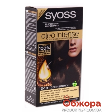 Краска Сьёс (Syoss)  Oleo Intense 3-10 глубокий кашт. 115мл – ИМ «Обжора»