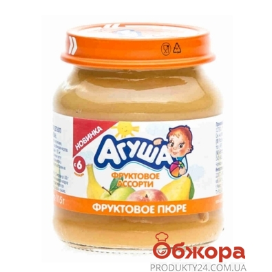 Пюре Агуша яблоко-груша-банан-персик 115 г – ИМ «Обжора»