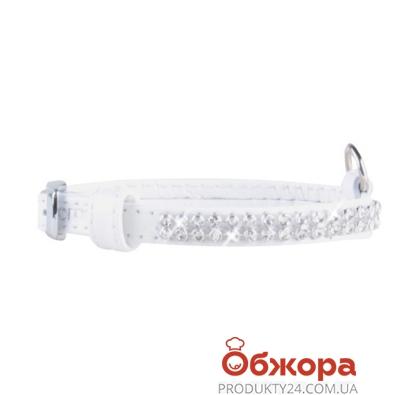 Ошейник Коллар (Collar)  brilliance с украшением полотно стразы (ширина 9мм, длина 18-21см) белый – ИМ «Обжора»
