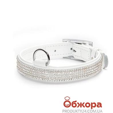 Ошейник Коллар (Collar)  brilliance с украшением полотно стразы (ширина 12мм, длина 21-29см) белый – ИМ «Обжора»