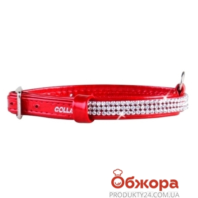 Ошейник Коллар (Collar)  brilliance с украшением полотно стразы (ширина 12мм, длина 21-29см) красный 33083 – ИМ «Обжора»