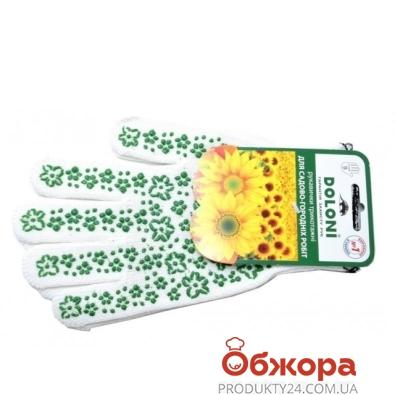 Перчатки Долони рабочие белые с зел. рис. 620 – ИМ «Обжора»