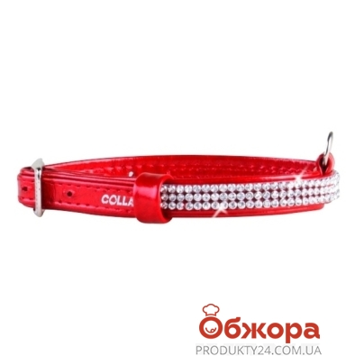 Ошейник Коллар (Collar)  brilliance с украшением полотно стразы (ширина 9мм, длина 19-25см) красный 33073 – ИМ «Обжора»
