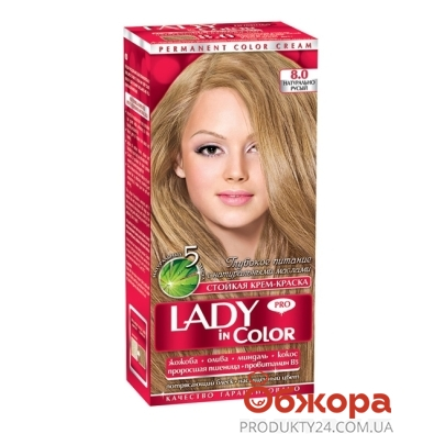 Краска Lady in color для волос N8.0 натурально-русый – ИМ «Обжора»