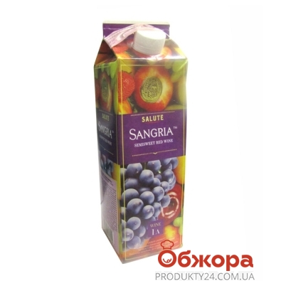 Вино Салюте (Salute) Сангрия красное п/сл 1 л – ИМ «Обжора»