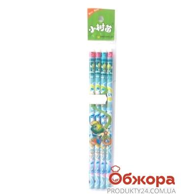 Карандаши простые с резинкой, 4 шт. в уп.       0104 – ИМ «Обжора»