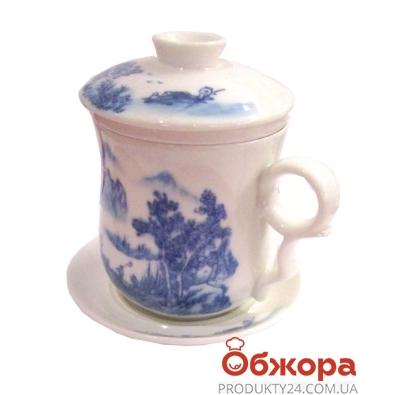 Чашка с заварником  на подставке фарфор 4 вида *1813А – ИМ «Обжора»