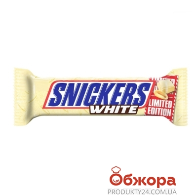 """Батончик """"Сникерс"""" белый, 80 г – ИМ «Обжора»"""