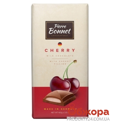 Шоколад Пьер Боне (Pierre Bonnet) молочный вишня 100г – ИМ «Обжора»