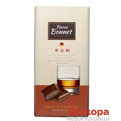 Шоколад Пьер Боне (Pierre Bonnet) молочный ром 100 г – ИМ «Обжора»