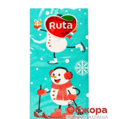 Салфетки Рута (Ruta) 10л 3-ш 33/33 1/8 Снеговики аром. – ИМ «Обжора»