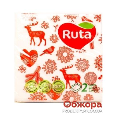 Салфетки Рута (Ruta) 40л 24х24 2-ш Новогодний декор – ИМ «Обжора»