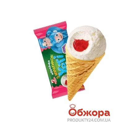 Мороженое Ласунка Yeti пломбир с клубничная подваркой 70 г – ИМ «Обжора»