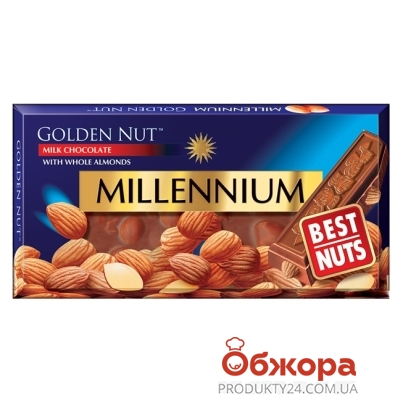 Шоколад Миллениум (Millennium) молочный с миндалём 100 г – ИМ «Обжора»