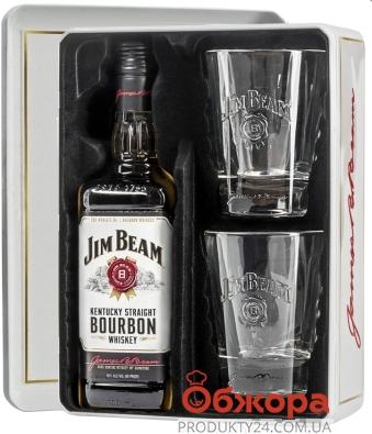 Виски Джим Бим 0,7л ж/б + 2 стакана Набор – ИМ «Обжора»