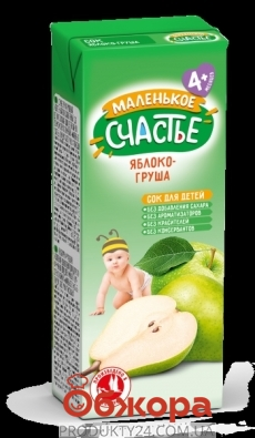 Сок Маленькое счастье 0,2л яблоко-груша НОВИНКА – ИМ «Обжора»