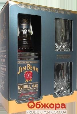 Виски Jim Beam Double Oak  0,7 л+2 бокала Набор – ИМ «Обжора»