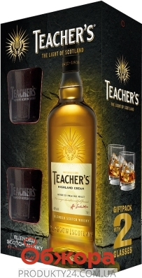 Виски Teachers 0,7 л + 2 стакана набор – ИМ «Обжора»