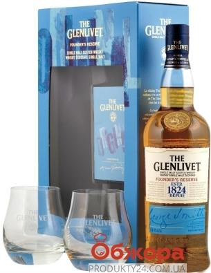 ZZZВіскі Glenlivet Founders Reserve 0,7л. + 2 склян. Набiр – ІМ «Обжора»