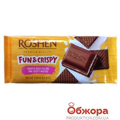 Шоколад Roshen молочный с шоколадной начинкой и вафлями, 105 г – ИМ «Обжора»