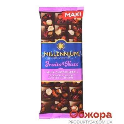 Шоколад Миллениум  Fruits&Nuts миндаль фундук клюква изюм 140 г – ИМ «Обжора»