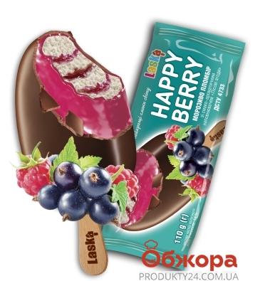 Мороженое пломбир лесные ягоды Happy Berry Ласка 110 г – ИМ «Обжора»
