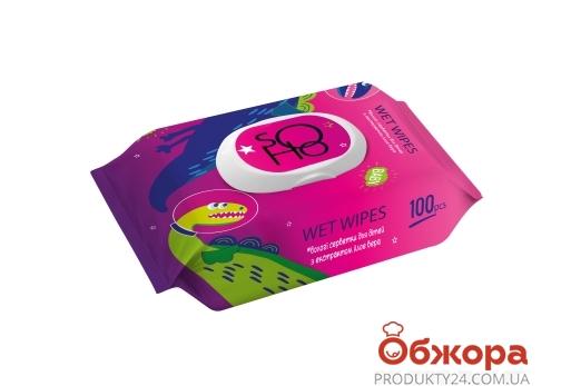 Серветки вологі для дітей з екстрактом алое вера ТМ SOHO 100 шт – ІМ «Обжора»