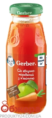 Сік Gerber 175г яблуко-морква – ІМ «Обжора»